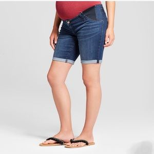 ISABEL MATERNITY Inset Panel Bermuda Jean Shorts 8